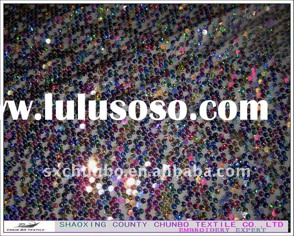 2011 fashion hand stone embroidery sequin fabric for garment spangle embroidery fabric