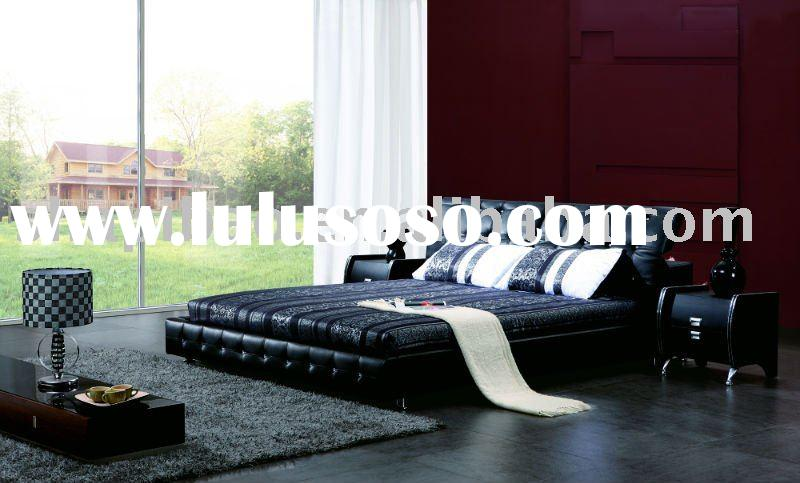 2011 modern furniture leather full size single double soft bed sets V9005