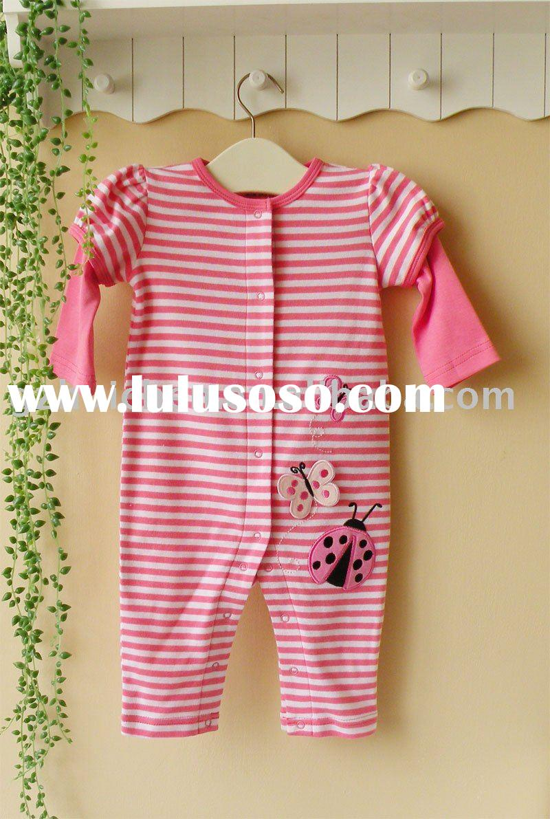 2011 spring mom and bab baby clothes 100% cotton long sleeve embroider sleepwear