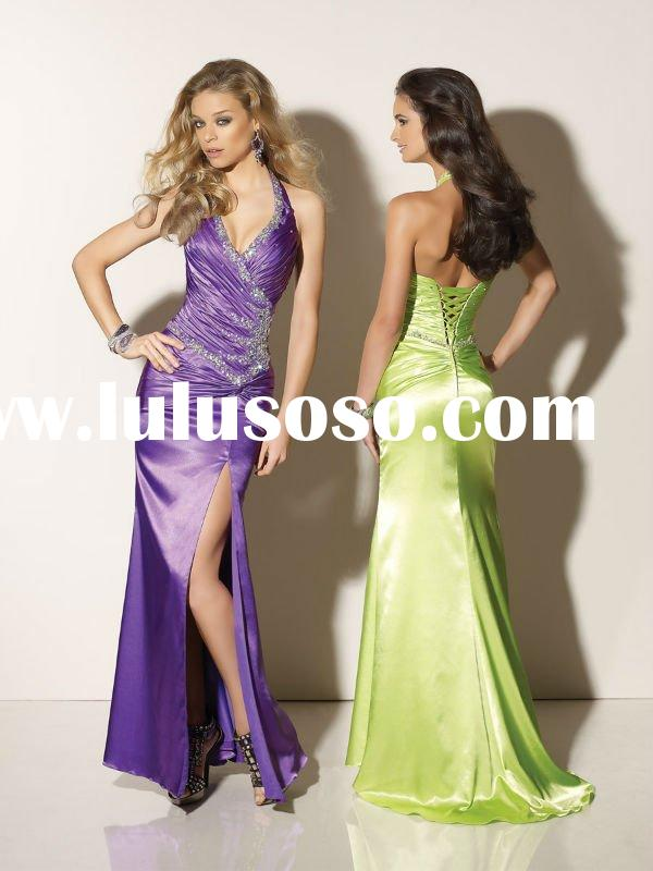 2012 Gorgeous Halter Sheath Purple Navy Blue Floor-length Lace-up Back Prom Dresses Evening Dresses