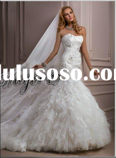 2012 Long Veil&Scoop Luxury Tulle Lace Ivory Mermaid Wedding Dresses HL-WD2694
