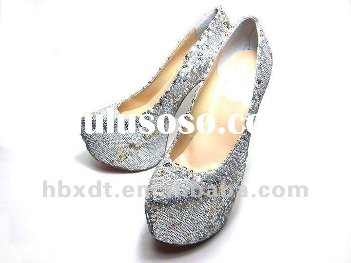 2012 silvery fish scale leather platform dress pumps & high heel shoes