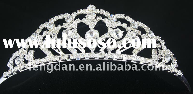 2012 trendy clear rhinestone tiara crown suitablt for pageant,party,wedding