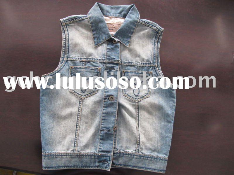 2012 women sleeveless Denim Jacket