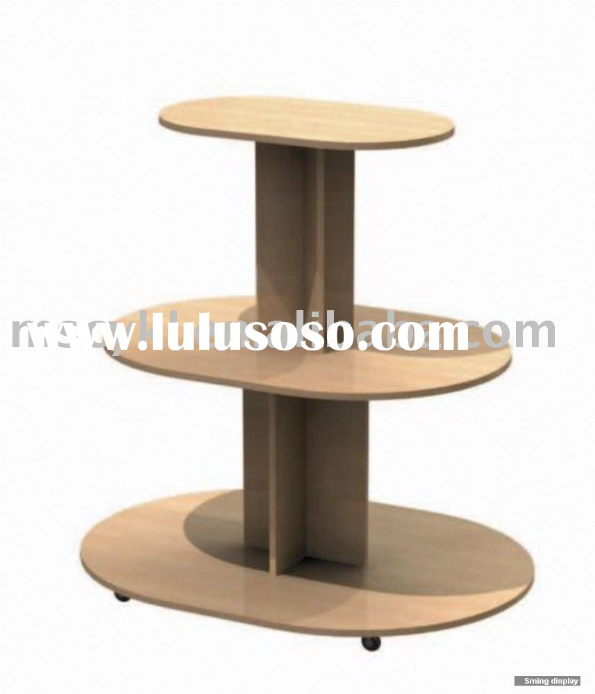 3 Tier floor Table MDF round display unit- Cherry