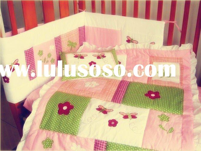 5 pcs embroidery pink baby girl crib bedding set