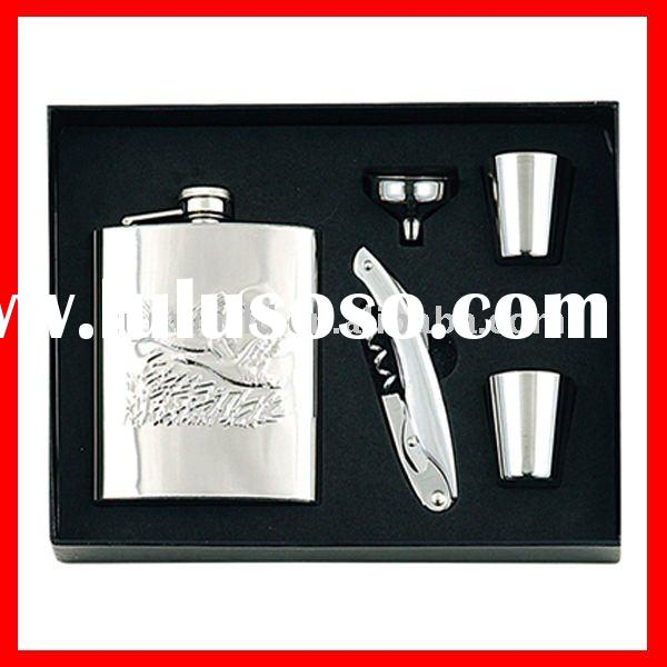 8oz stainless steel hip flask gift set