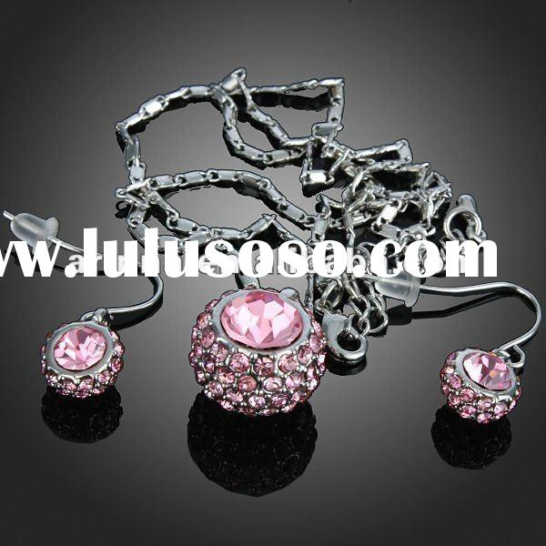 ARINNA Pink Rhinestone Ball Dangle Earring Necklace Set Crystal 18k White Gold Plated Jewelry Set G0