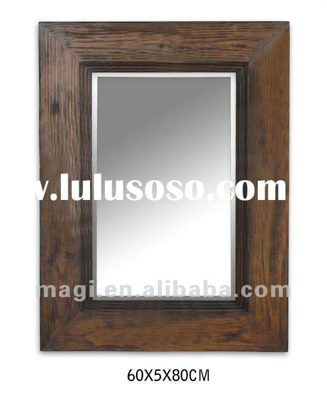 Antique Old Style Bathroom Wood Wall Mirror