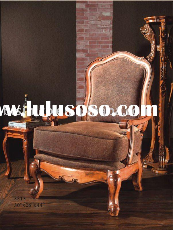 Antique solid wood living room chair,single sofa,American living room furniture