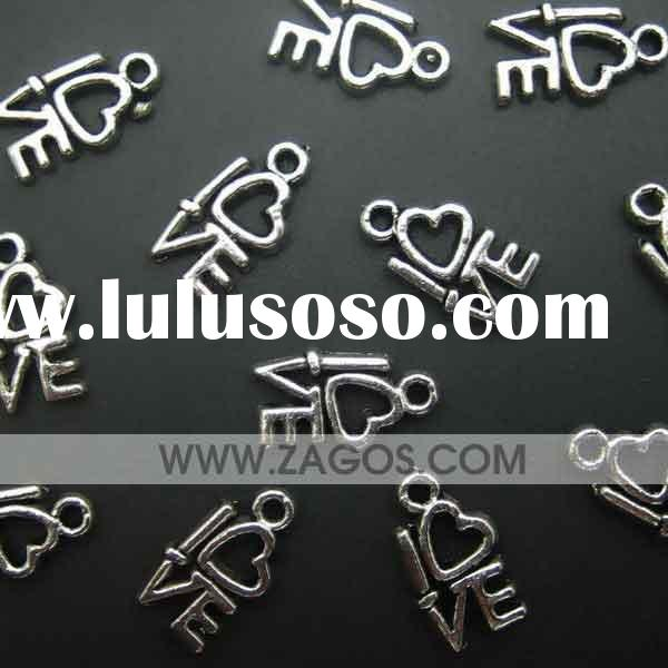 Antique tibetan beads,I love you charms,zinc alloy,Antique Silver,findings,14.5mm long,8mm wide,1.5m