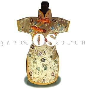 Chinese Cheong-sam brocade wine bottle clothes for wine bottle decoration