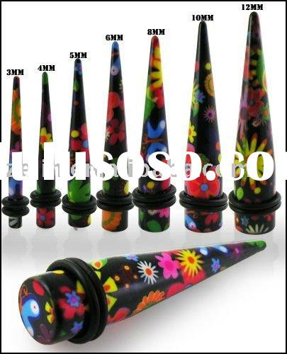 Colorful Flowers Straight ear taper flesh tunnel body piercing plug jewelry