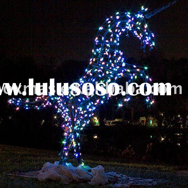 Colorful Iron frame rope solid horse christmas outdoor light