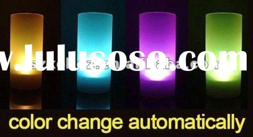 Colour changing led flameless candle light with 100cm plastic frost cup