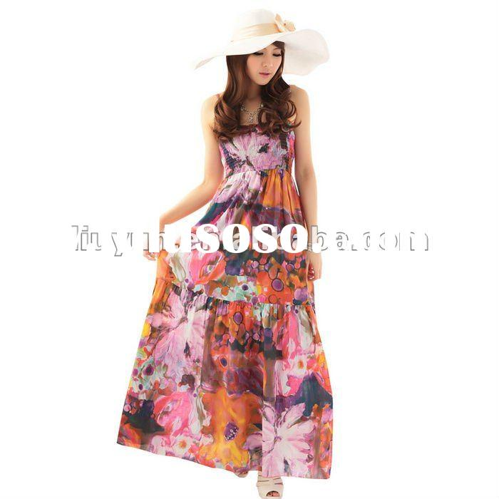 D1495 Plus Size spring Summer lady spring fashion Full Long dress