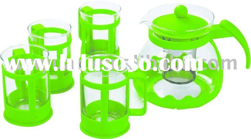 Decorative Glass Tea Pot Sets with Four Glass Cup