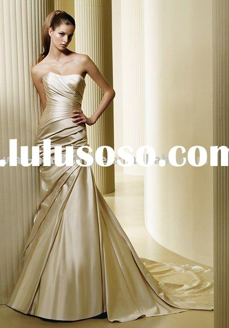 EL459 Strapless A-Line rueched Stunning Wedding Dress Patterns
