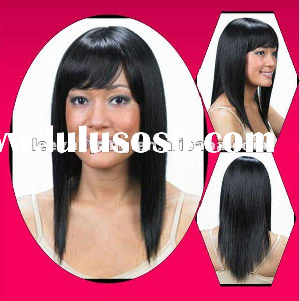 Ethnic Long Straight Human Hair Lace Wigs For Black Women