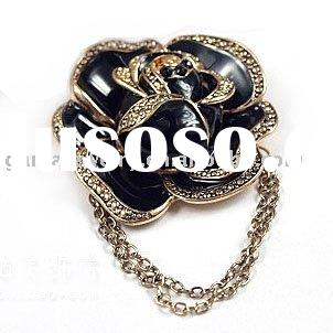 Europe and US Hot Sale Fashion Jewelry Antique Gold Rose Brooch
