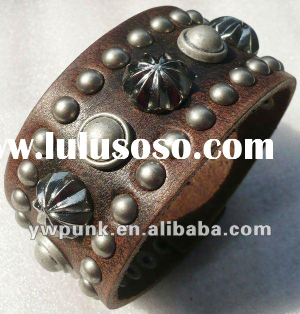 Fashion Metal mens leather cuff bracelet bangles bracelets for women