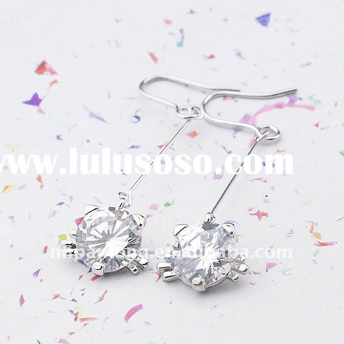 Fashion hanging diamond earrings cz earring fake diamond earrings