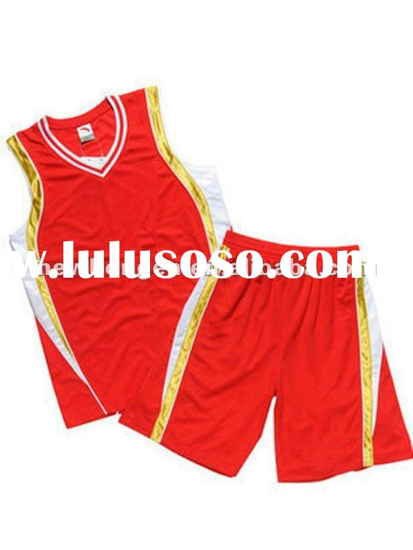 Full Polyester red Basketball Uniform Design Basketball jersey
