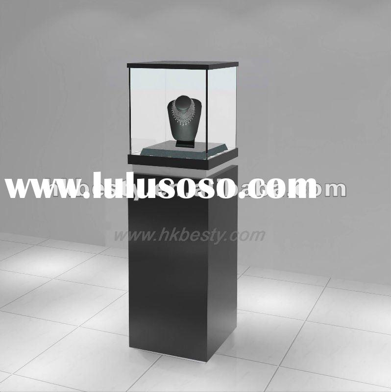 Glass wooden jewelry display cases,showcase with lock
