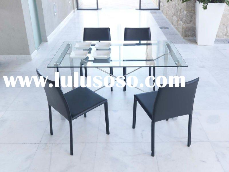 HOTSALE classic Stretch dinner table ss dining tempered glass dining table set modern dinner table d