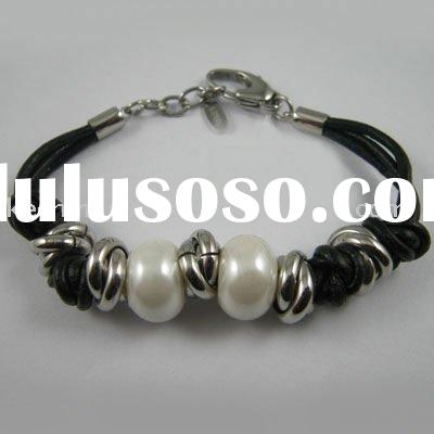 Hand-made fashion bracelet, leather bracelet, stainless steel/ jewelry, rhodium plated with pearls,
