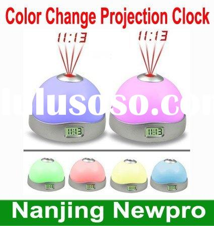 Hot Sale 7 color change LED arched digital alarm clock with projection,projection clock