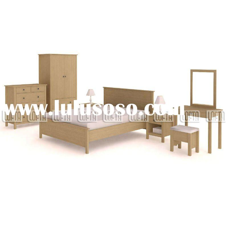 IKEA designs Contry style Bedroom furniture Set with wardrobe, dresser, tallboy, double bed, night s