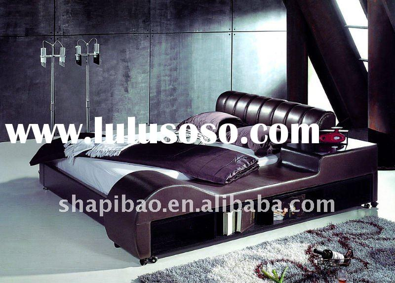 Indian style soft bed in deep purple bedroom furniture
