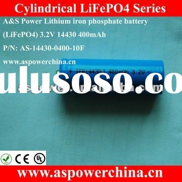 Lithium Ion 14430 3.2V 400mah cylindrical AA size rechargeable batteries For Medical Devices