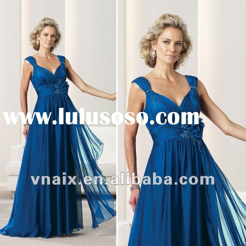 ML0086 Vnaix 2012 Chiffon Long Style Royal Blue Mother Of The Bride Dress