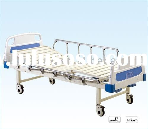 Movable hospital manual two crank bed with ABS headboards