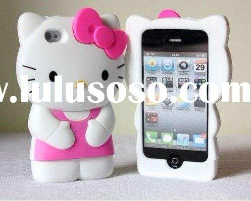 NEW 3D Hello Kitty TPU soft silicone cell phone case cover for iphone 4 4G