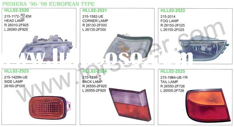 NISSAN PRIMERA 1996-1998 EUROPEAN TYPE auto lamp (head lamp,corner lamp,side lamp,tail lamp,front la