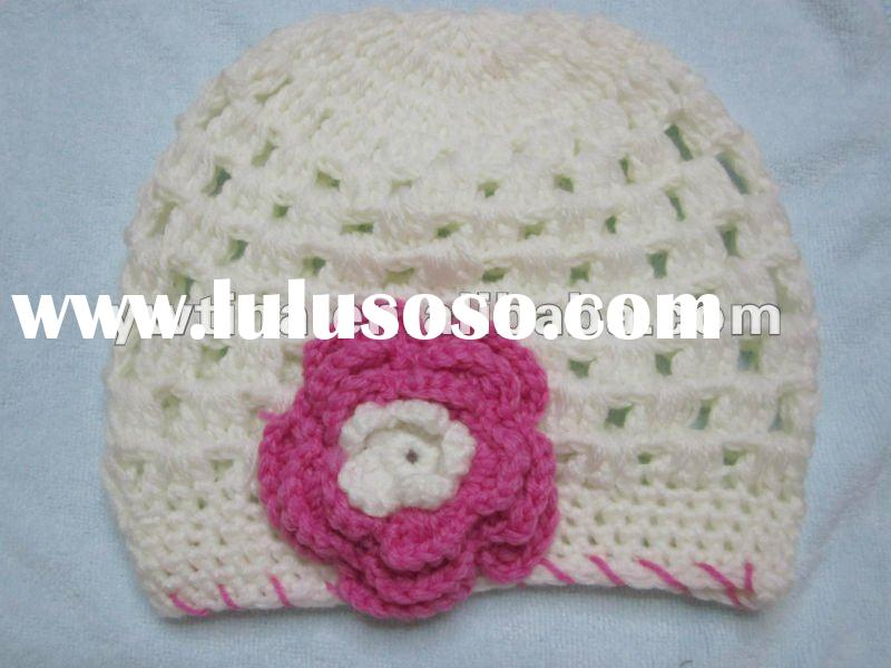 New Arrival!!White w Pink w Flower Handmade Crochet Baby Hat/Knitted Hat/Crochet for kids