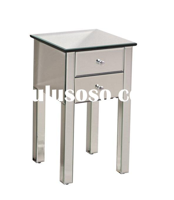 New Fashion Glass Cabinet Livingroom & Bedroom Nightstand Sidetable 2 Drawers clear Mirrored Fur