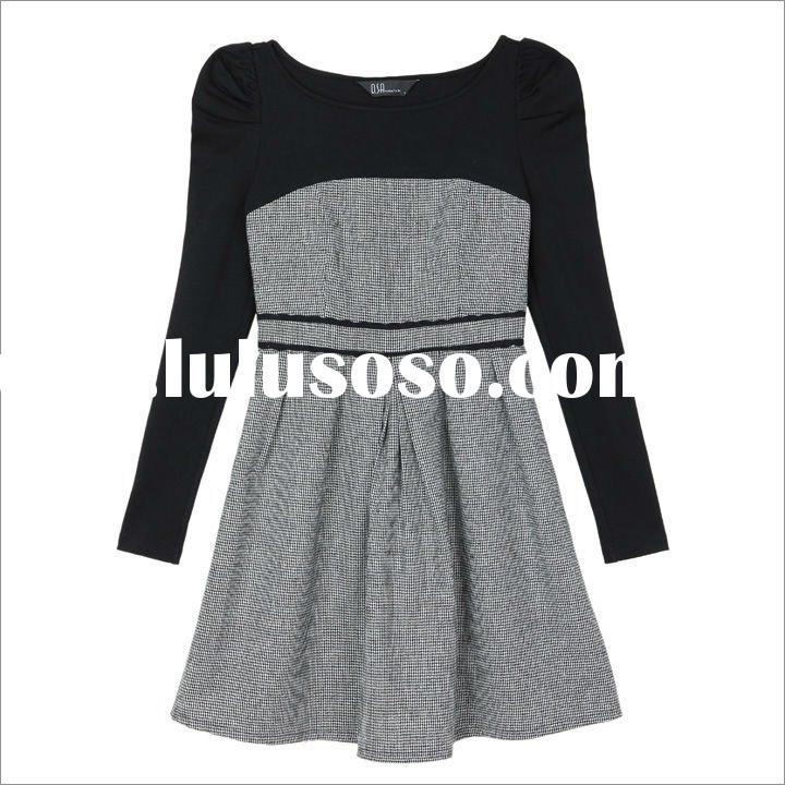 New design Autumn and Winter dress Korean style solid wollen casual dress womens grey O-neck long sl