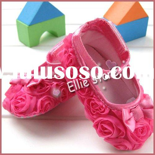 Pink Mary Jane Infant Baby Shoes Girls Toddler shoes soft sole Rose flower