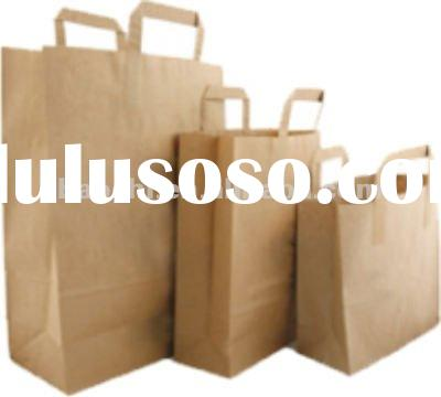 Printed Brown Kraft Paper Bag with flat handle