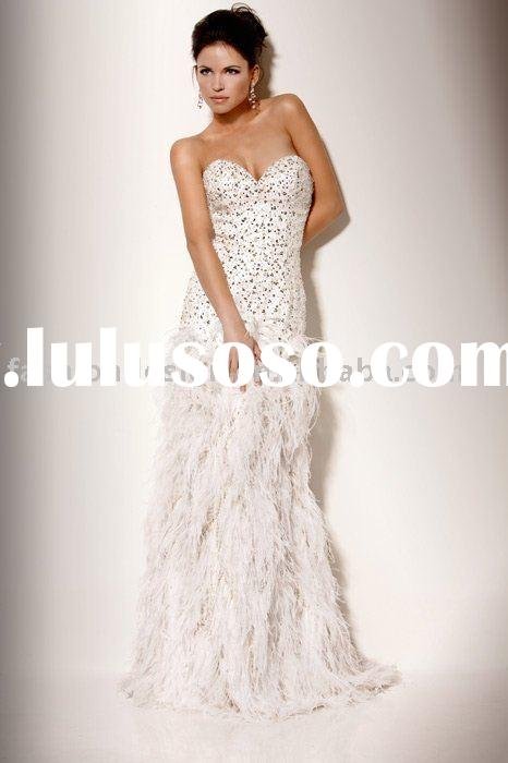 R005 Feather crystals celebrities evening dresses Red carpet prom dresses