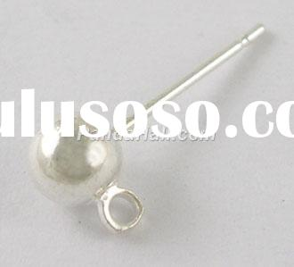 Silver-Plated Copper Ball Post Earstud, 5mm in diameter, 15mm long, hole: about 1.5mm (EC254-S)