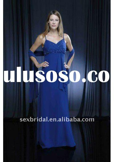 Simple royal blue sheath spaghetti straps floor-length chiffon mother of the bride dress DC-BM188