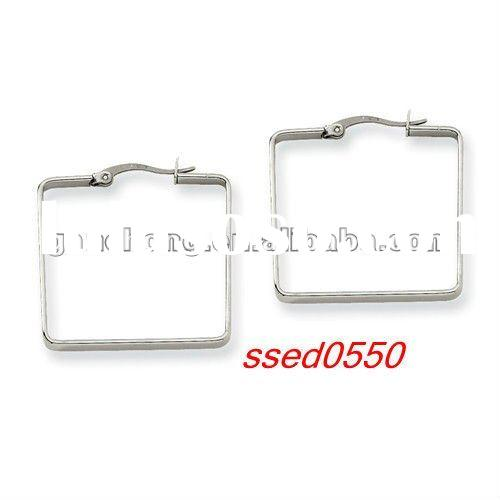 Square Stainless Steel Large Hoop Earrings for Women