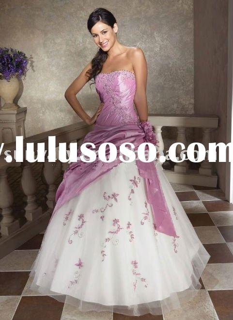 Stunning pink and white evening dress prom dress Beaded Strapless A-line Many Colors and Custom made
