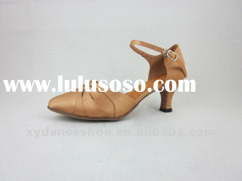 The tan latin dancing shoes women