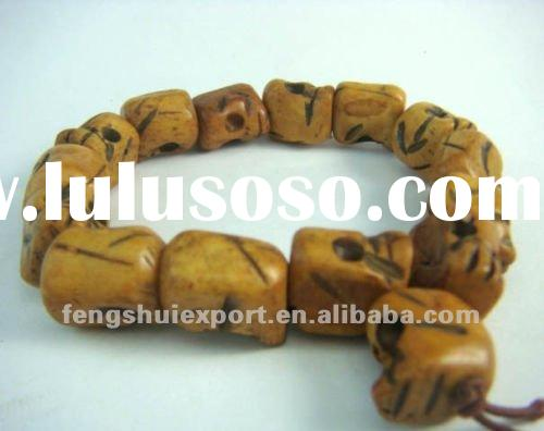 Tibetan Ox Bone Carved Skull Prayer Beads Bracelet